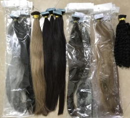 Color Tape Hair Mixed Natural Hair Extensions Double drawn Cold  Russian hair 200g