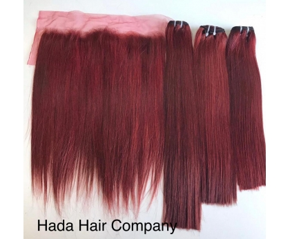 High Quality Straight Frontal 13x4 With Bundles In Color H002 Weft Hair Extension