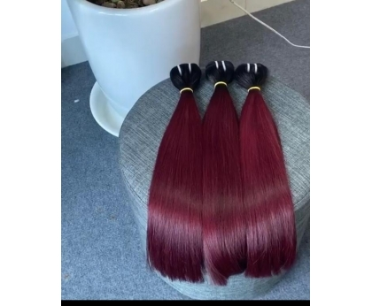 H002 Colored weft double drawn virgin 100% human hair from vietnamese factory