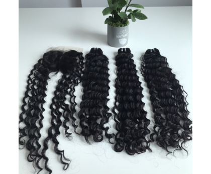Best Quality Packet Single Donor Human Hair Loose Curly Bundle 26 inches And Closure 5x5